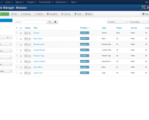 Printscreen Joomla! Modules beheren