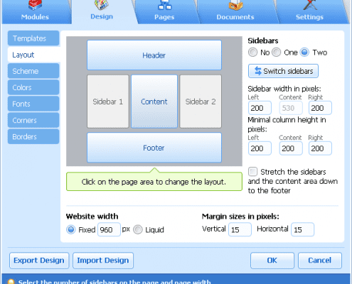 Printscreen SiteBuilder Lay-out kiezen