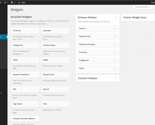 Printscreen WordPress Widgets