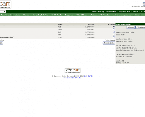 Printscreen Zen Cart Valuta instellingen
